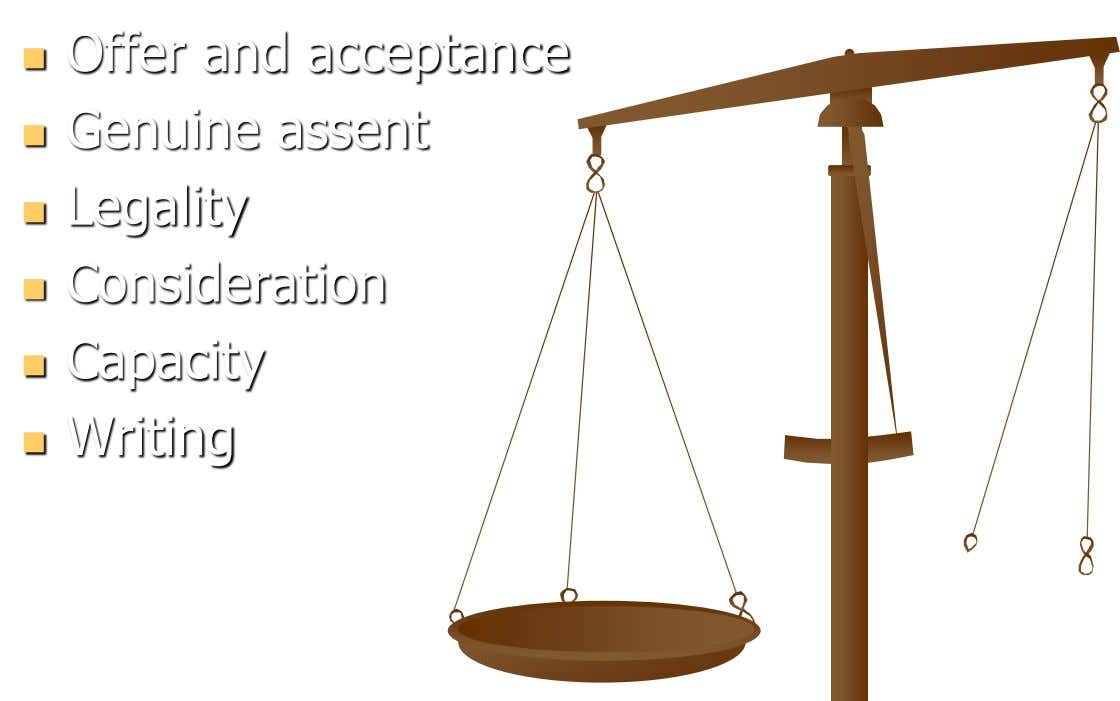Offer and acceptance  Genuine assent  Legality  Consideration  Capacity  Writing 