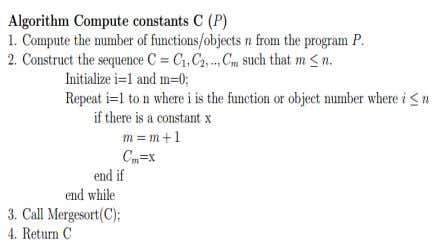 E NCODING CONSTANTS IN WATERMARKING STRUCTURE A program consists of n number of functions or objects.