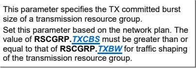 This parameter specifies the TX committed burst size of a transmission resource group. Set this