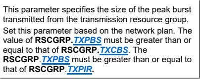 This parameter specifies the size of the peak burst transmitted from the transmission resource group.