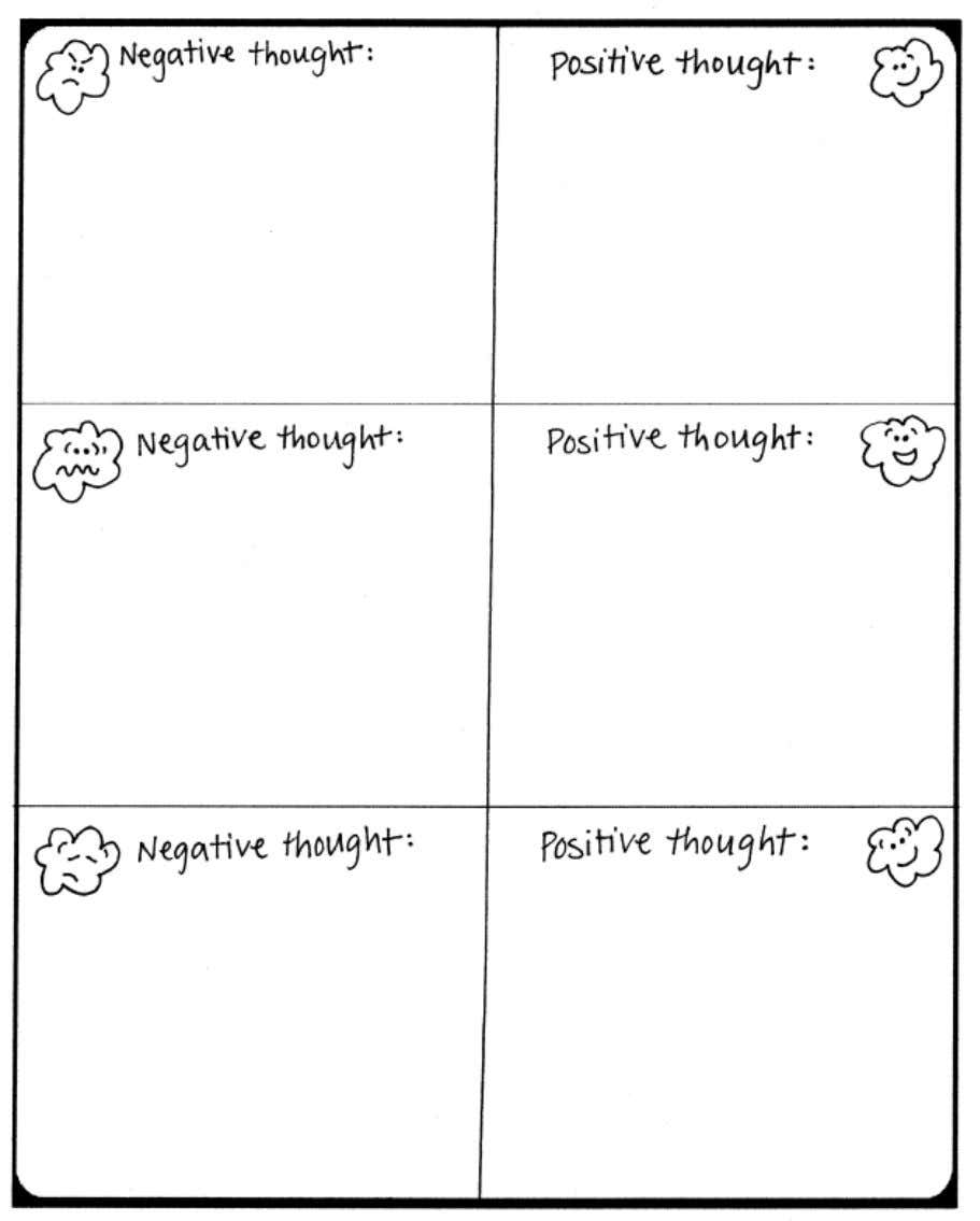 about your own negative thoughts that you have had. Write down a posi tive thought you