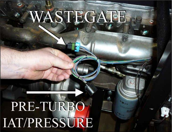 the wire ends. Plug the connector labeled (PRETURBO IAT/P) into the pre-turbo intake air temperature and