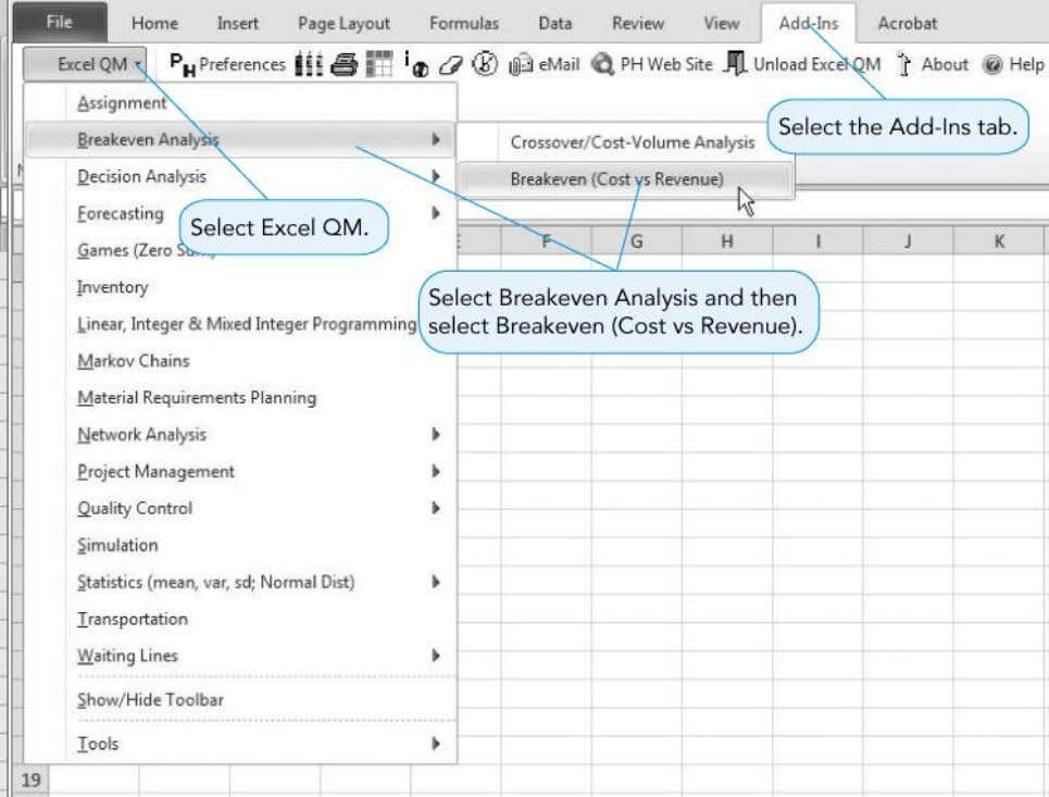 Selecting Break-Even Analysis in Excel QM SPD4524 - L01 - Introduction 29