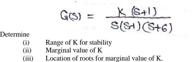 Determine (i) Range of K f or stability (ii) Marginal val ue of K (iii)