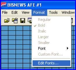 (Default Fonts) (Default Fonts) 1. Format (Menu Bar) 2. Edit Fonts Select Font to Edit 4