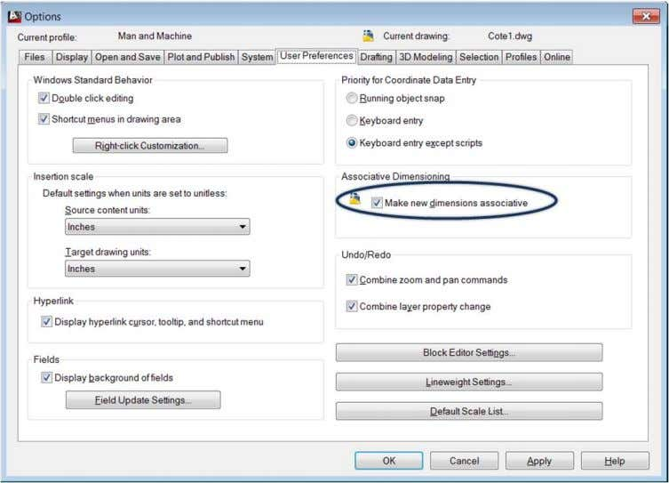 din AutoCAD Options, tabul User Preferences . Caseta de dialog Options Tab User Preferences AutoCAD
