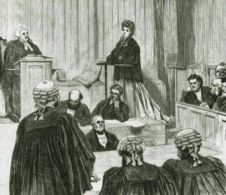 A woman takes the stand in a divorce court in the 1870s. Held only in