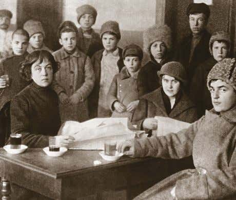 free at many hospitals, and a literacy program was underway. Kollontai meets homeless families in her
