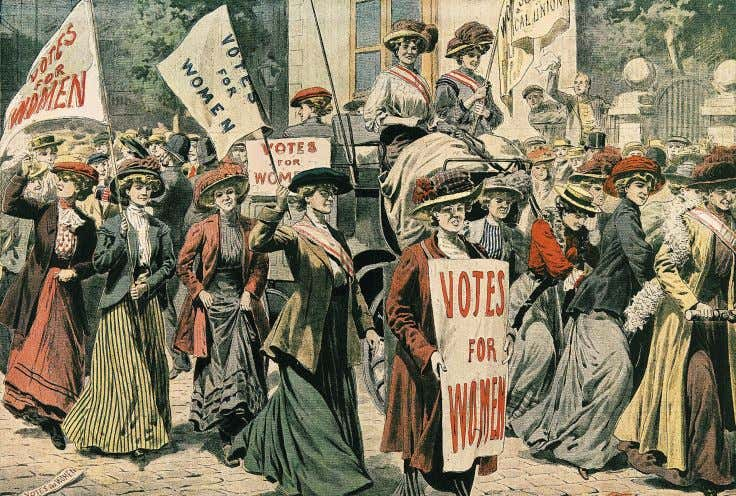 the goal of extending the vote to women but it was slow. Suffragettes march in support