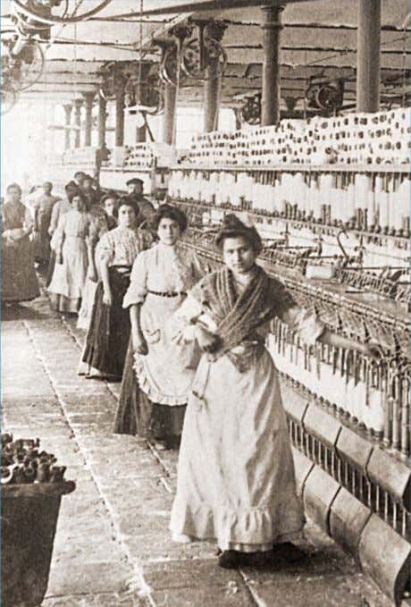 As countries industrialized , women and girls were increasingly employed outside the home. This 1898