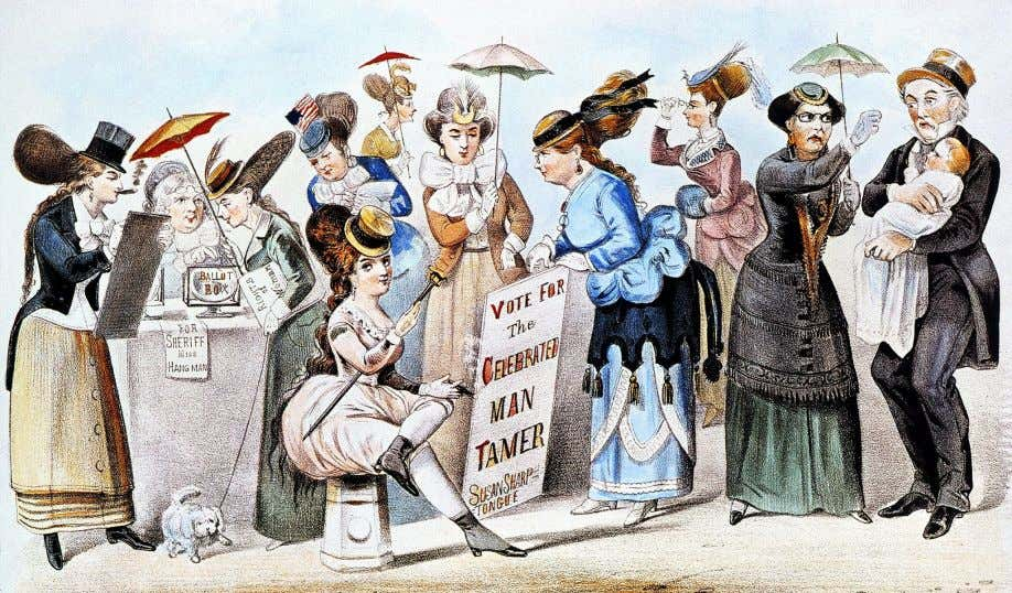 A cartoon of 1869 entitled The Age of Brass or the Triumph of Woman's Rights