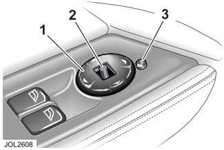 the steering column, see page 77. Door Mirror Adjustment 1. Adjusts mirrors. 2. Selects left or