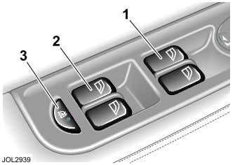 information on door mirrors, see page 80. Window Operation 1. Opens/closes front windows. 2. Opens/closes rear
