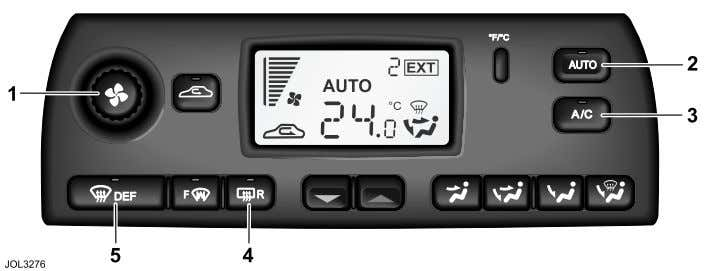 Quick Overview Climate Control R 1. Push for system ON/OFF, rotate for manual blower speed. 2.