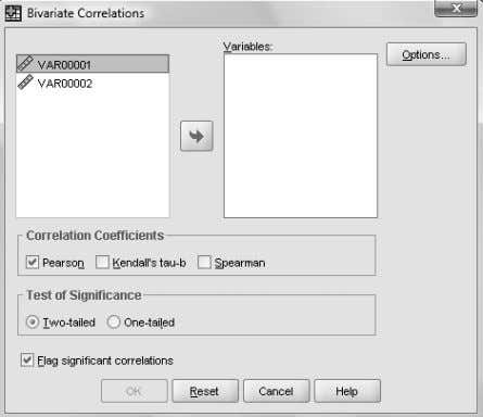 window entitled Bivariate Correlations , should appear. a. FIGURE 8.27 – SPSS BIVARIATE CORRELATIONS WINDOW SPSS