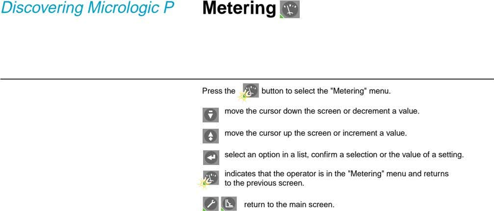 "Discovering Micrologic P Metering Press the button to select the ""Metering"" menu. move the cursor"
