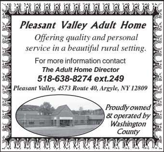 Pleasant Valley Adult Home Offering quality and personal service in a beautiful rural setting. For more