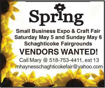 S p r n g i Small Business Expo & Craft Fair Saturday May 5 and