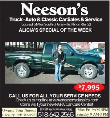 Neeson's Truck - Auto & Classic Car Sales & Service Located 5 Miles South of Granville,