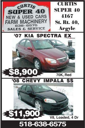 CURTIS SUPER 40 4167 St. Rt. 40, Argyle '07 KIA SPECTRA EX $8,900 70K, Red '08