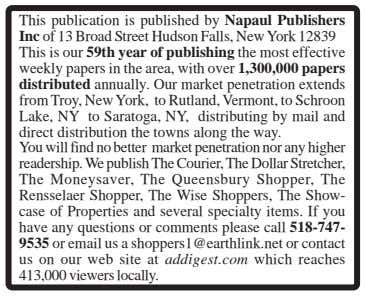 This publication is published by Napaul Publishers Inc of 13 Broad Street Hudson Falls, New York