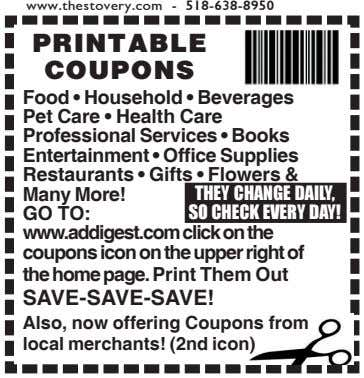 www.thestovery.com - 518-638-8950 PRINTABLE COUPONS Food • Household • Beverages Pet Care • Health Care Professional
