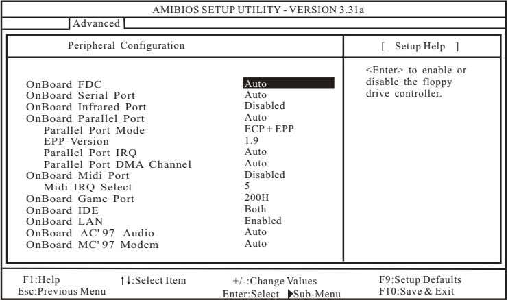 AMIBIOS SETUP UTILITY - VERSION 3.31a Advanced Peripheral Configuration [ Setup Help ] OnBoard FDC