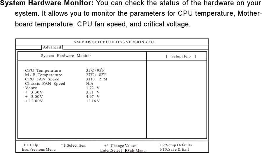 System Hardware Monitor: You can check the status of the hardware on your system. It