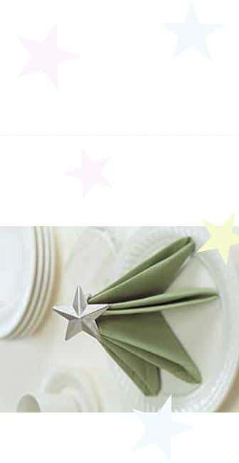 the fold at the left and the hemmed edges even at the right. Star-Topped Tree Napkin