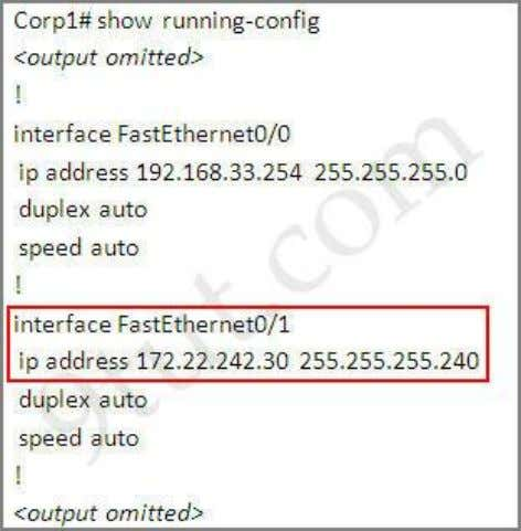 the IP address of 172.22.242.30. Corp1# show running-config We learn that interface FastEthernet0/1 is the interface