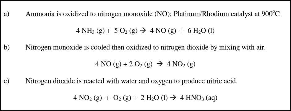 a) Ammonia is oxidized to nitrogen monoxide (NO); Platinum/Rhodium catalyst at 900 o C 4