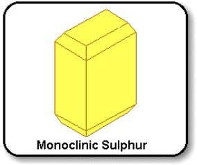 sulphur is S 8 3 allotropes: monoclinic, rhombic, plastic a) Rhombic sulphur – Is stable below
