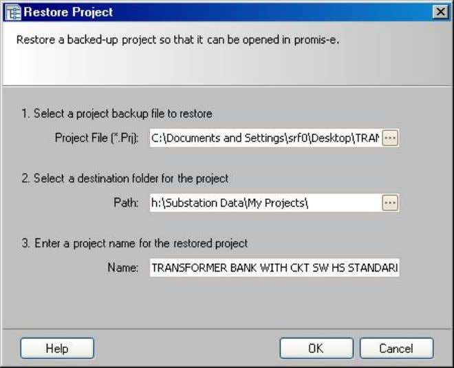"s tore"", the ""Restore Project"" dialog box appears Line 1: Click on the ellipsis for the"