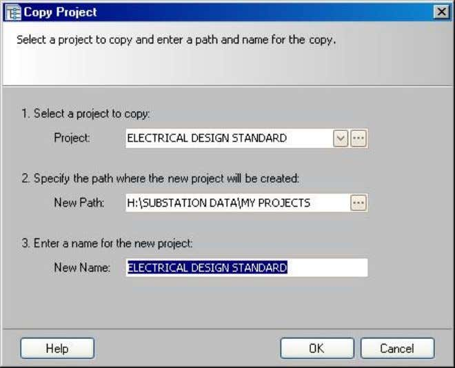 " ""Copy""; a ""Copy Project"" dialog box appears: Line1: This should be the project the user"
