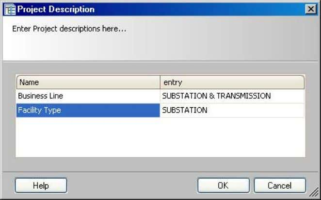 "dialog box appears: Click on ""Description""  ""Business Line"" and ""Facility Type"" can be modified"