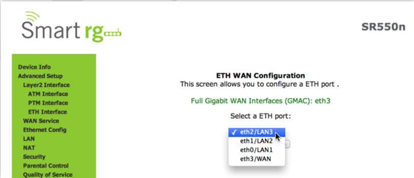 simply select the LAN port you wish to act as a WAN port. WAN Service There