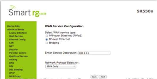 wish to create. For this example choose IP over Ethernet. Click Next after completing the necessary