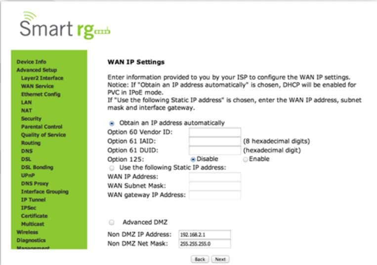 Enter the relevant WAN IP Settings. Click Next after completing the necessary fields. T he individual