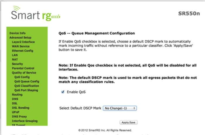 When this option is checked, it exposes the QoS Queue Management Configuration drop-down menu where