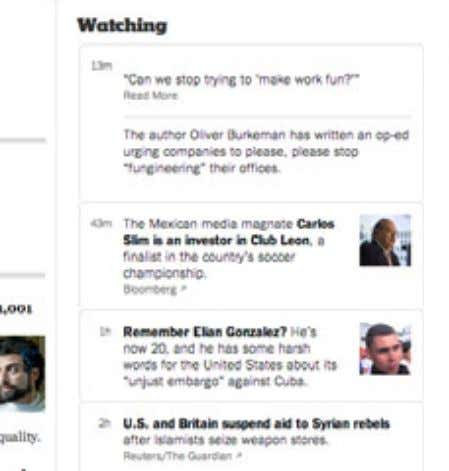 app, leveraging the archive. Watching: An experiment in curating a news feed on our homepage. NYT