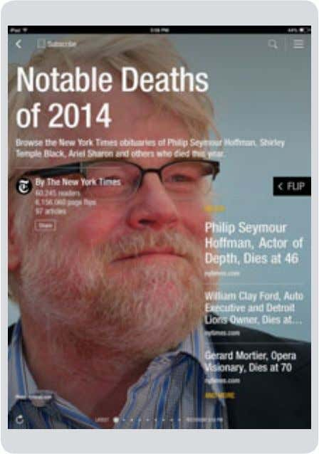 New York Times obits, developed on a whim by Andrew Phelps. Flipboard has created a tool