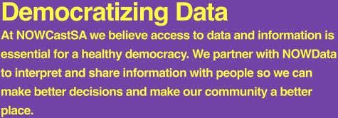 Democratizing Data At NOWCastSA we believe access to data and information is essential for a healthy