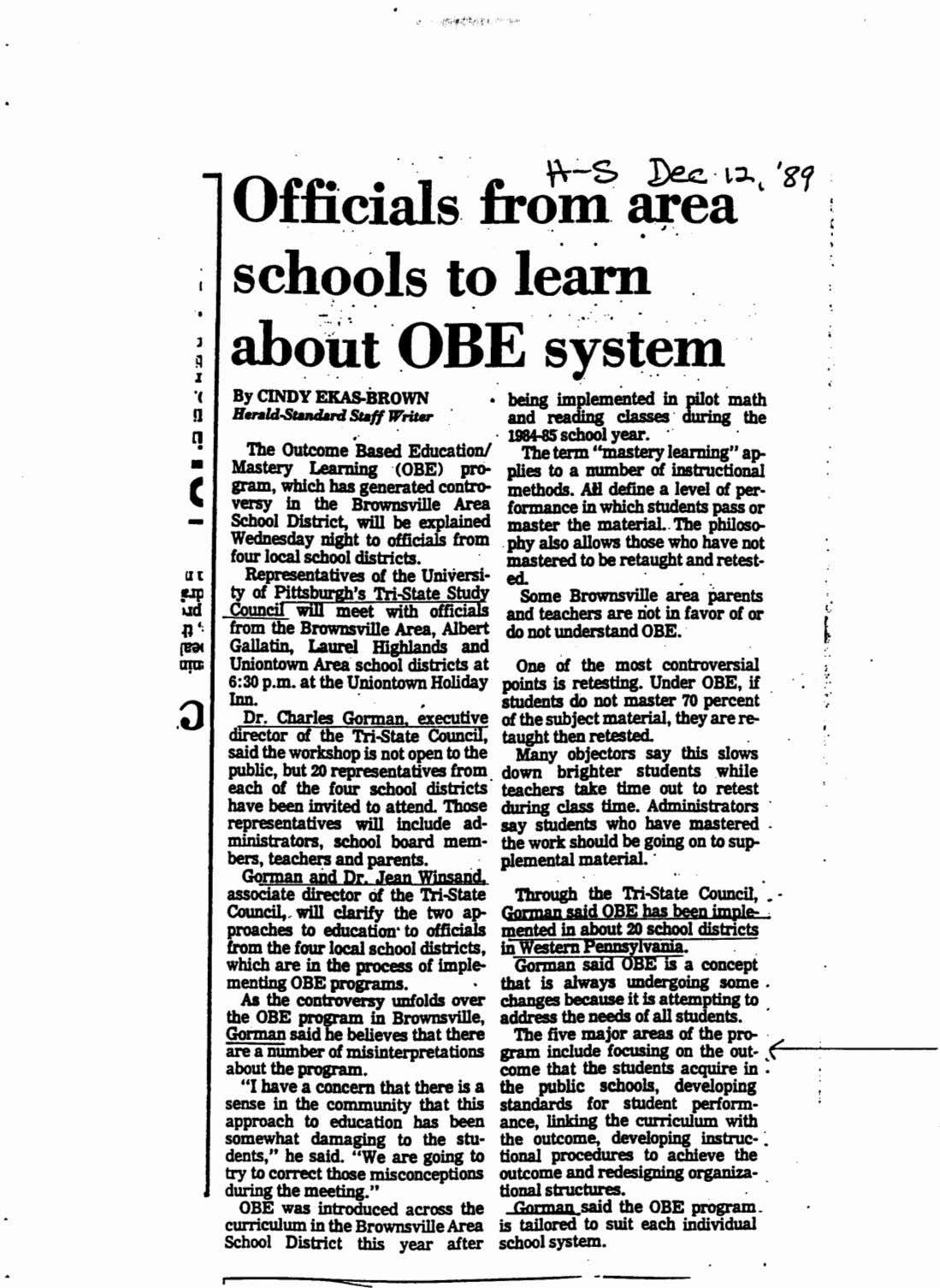 Officials . from ea` gp schools to learn about OBE system By CINDY ERAS-BROWN Herald