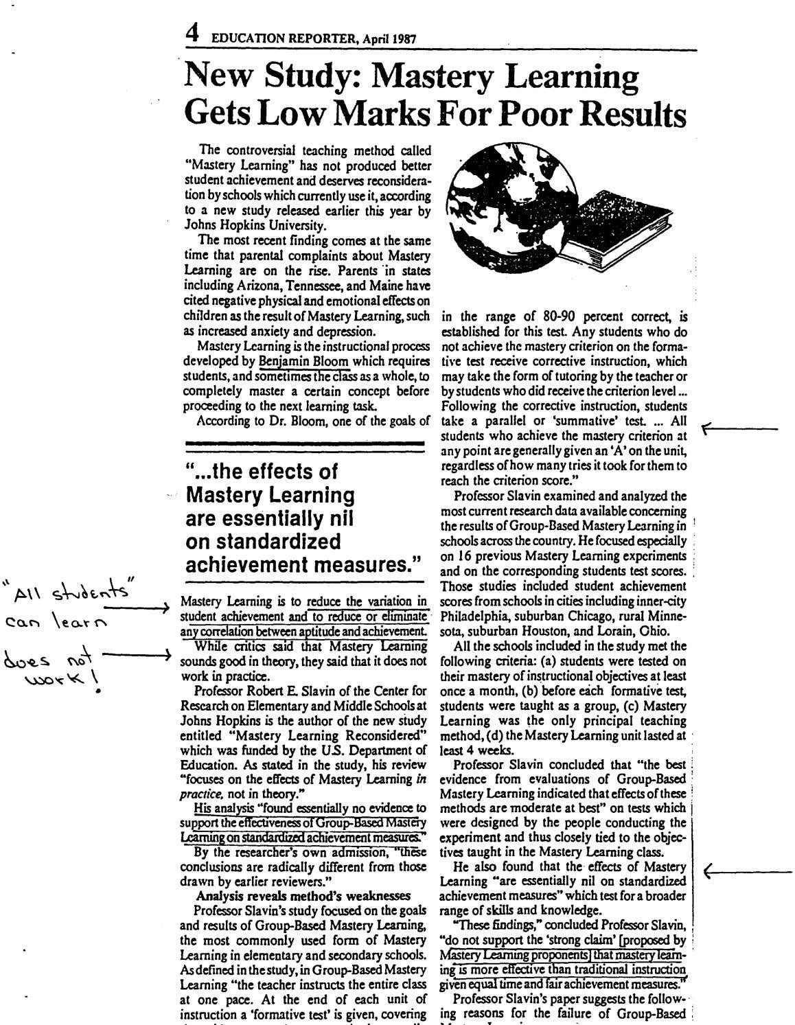 4 EDUCATION REPORTER, April 1987 New Study : Mastery Learning Gets Low Marks For Poor