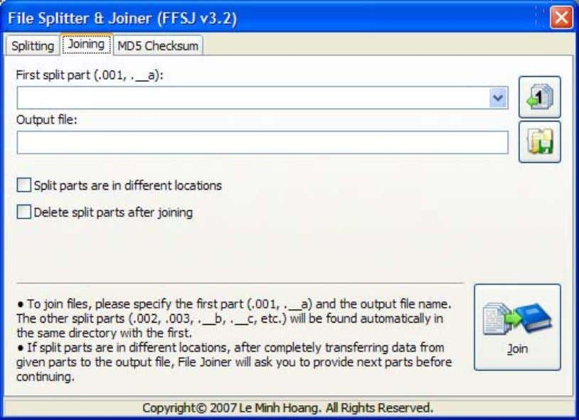 6/13/2011 FFSJ: The Fastest File Splitter and Joiner 2. Select the first split part (.001 or