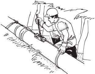 Protect the pipe end with a block of wood. Figure 10. If a crowbar does not