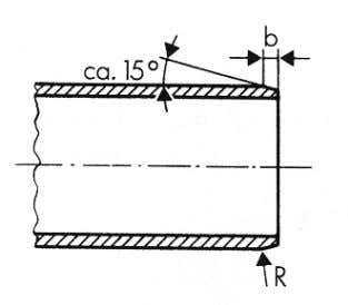 ends prior to jointing, as illustrated in the sketch below. Cutting the pipe to length. Chamfering