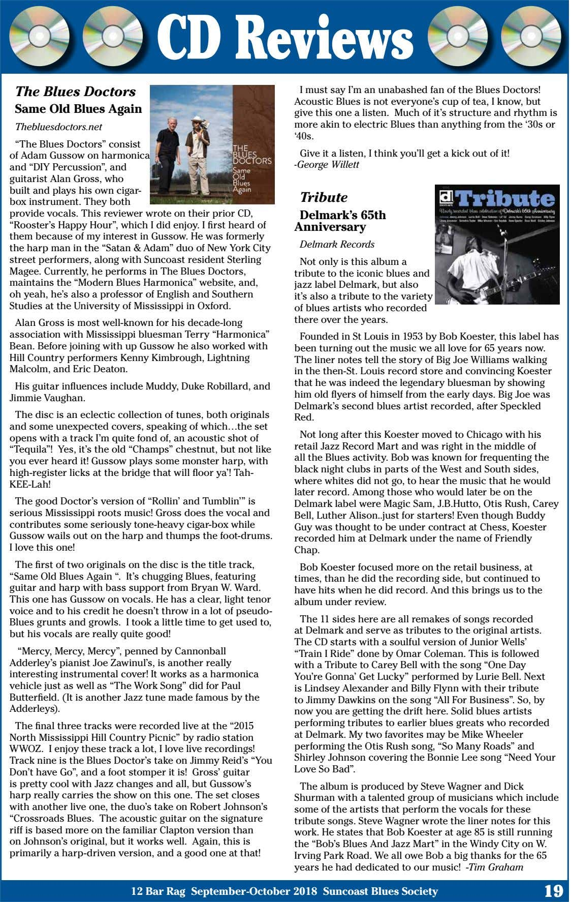 CD Reviews The Blues Doctors Same Old Blues Again I must say I'm an unabashed