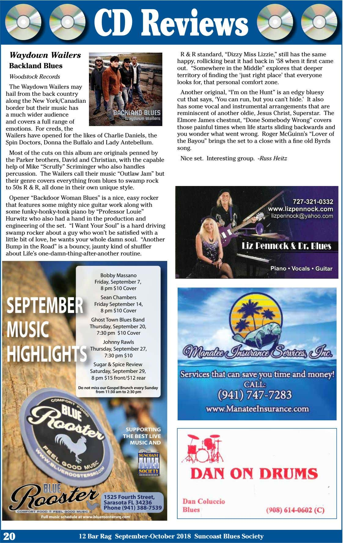 "CD Reviews Waydown Wailers Backland Blues Woodstock Records R & R standard, ""Dizzy Miss Lizzie,"""