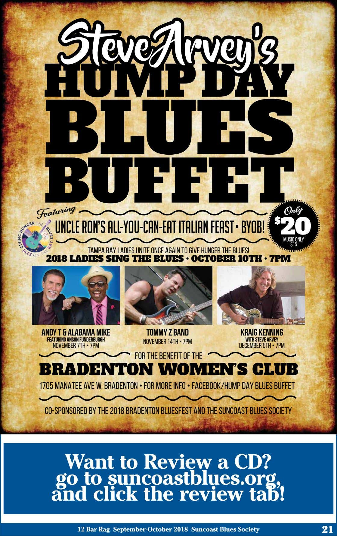 Steve Arvey's HUMP DAY BLUES BUFFET $ UNCLE RON'S ALL-YOU-CAN-EAT ITALIAN FEAST • BYOB! 20